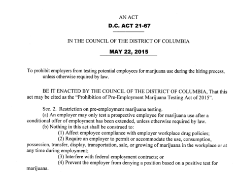 d c pre employment marijuana testing are your employment