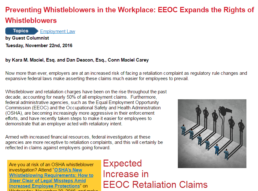 Whistleblower Retaliation Article Published in BLR's HR