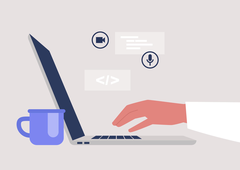 New,Technologies,,A,Side,View,Of,An,Open,Laptop,,Millennials